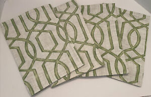 UNBRANDED SET OF 4 CLOTH PLACEMATS NEW 13x18 In GREEN  Reversible washable