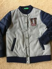 Benetton Grey/Blue Padded Jacket Age 7-8 Years Stud Fasteners Front Pockets