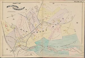 1904 OLD SHORT HILLS MILLBURN TOWNSHIP NEW JERSEY ESSEX  COUNTY ATLAS MAP
