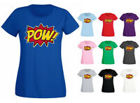 Womens Pow Super Hero Comic Funny Slogan T-shirt NEW UK 6-18