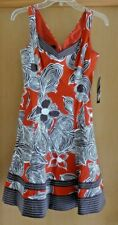 Nine West Women's Fitted Sleeveless Summer Dress Size 2 Red Black White NWT