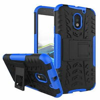 Hybrid Rugged Hard Rubber Stand Case Cover Case for Motorola Moto E3