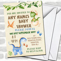 Watercolour Cute Dinosaur Boy Baby Shower Invitations