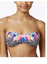 Bar III Feather Daze Bandeau Bikini Top Sz Large Black Multi SwimWear 73