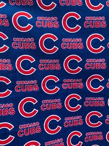 """NEW CHICAGO CUBS COTTON Fabric 1/4 yard= 9inX44in CHICAGO CUBS """"C"""" LOGO DIY MASK"""