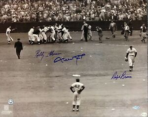 Dodgers vs. Giants Shot Heard Round the World Signed Photo Branca Thomson Mays