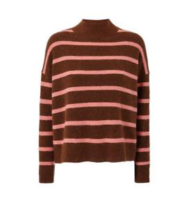 Karen Millen Alpaca Wool Long Sleeve Brown High Neck Striped Jumper Knitwear