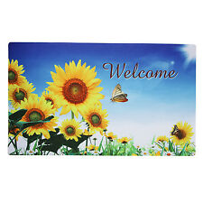 """Non-Slip Home Fashion Sunflower Welcome Vinyl Back Painting Doormat 29""""X17"""""""