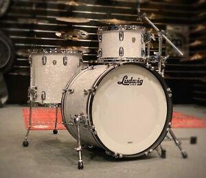 "Ludwig Classic Oak 3 Piece Drum Kit White Marine 20"" Bass Drum USA"