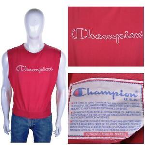 Champion Vintage 90s Ärmellos Sweatshirt S Unterhemd / Top Groß Bann Out Logo