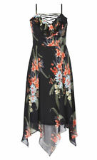 City Chic Black floral floridity chiffon over asymmetrical Party dress S 16 NEW