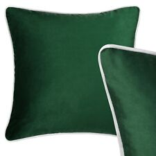 Large Velvet Cushion Dark Green Grey Piping Sofa Pillow Case XL Cover 55cm 22in