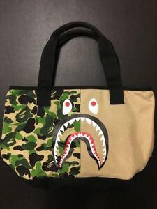 A BATHING APE camofulage pattern shark print tote bag