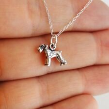 Tiny Schnauzer Dog Charm Necklace - 925 Sterling Silver - German Miniature Gift