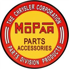 "Mopar Parts Chrysler 12"" Round Tin Sign Nostalgic Metal Sign Retro Garage Decor"