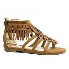 Womens Ladies Low Flat Heel Ankle Fringe Tassels Gladiator Summer Sandals Shoes