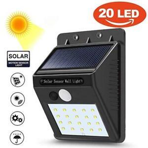 Wireless Solar Power PIR Motion Sensor Night Light Outdoor Lamp Waterproof NEW