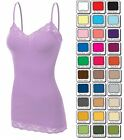 Zenana LACE TANK TOP Cami Long Layering Spaghetti Strap S/M/L Basic FREE SHIP