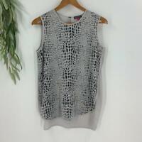 Vince Camuto Womens Chiffon Blouse Top Shirt Sleeveless Small Gray Animal Print