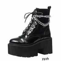 Details about  /Punk Women Patent Leather Lace Up Ankle Boots Round Toe Zipper Chain Shoes Zha19