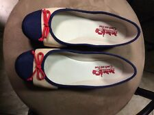 COACH and FOUR Striped Women's Size 71/2 Ballet Flats Red Bow  (New)