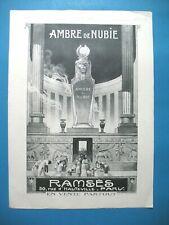 PUBLICITE DE PRESSE RAMSES PARFUM AMBRE DE NUBIE TEMPLE FRENCH AD 1920