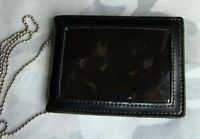 Black Leather Badge ID Card Wallet Holder Case With Neck Chain-MH189