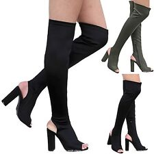 New Women FJn6 Black Stretchy Over the Knee Thigh High Chunky Heel Boot 5.5-10