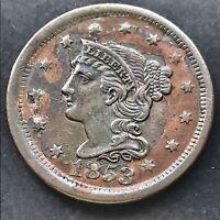 1853 Large Cent Braided Hair Nice High Grade  XF AU Details RARE #4186