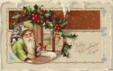 GREEN ROBE SANTA 1910 peeking in window