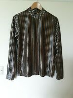 Zara Wb Collection Crushed Velvet Metalic Striped Top Size M