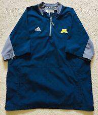 Adidas Men's Navy Blue Short Sleeve Pullover Jacket Wind Shirt, Mich. Logo Sz M