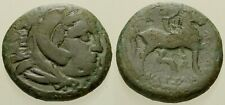 054. Greek Bronze Coin. KASSANDER, AE-18. Herakles / Horseman. Fine