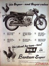 1958 Motor Cycle ADVERT - B.S.A. '175cc Bantam Super' (£98 + P.Tax) Print AD