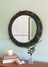 "Industrial Metal Rust Finish Porthole Round Wall Mirror Nautical Coastal 22"" New"