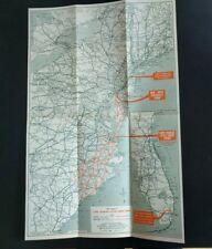 1943 Map ~ North & South Via the DEL-MAR-VA Peninsula Chesapeake Bay