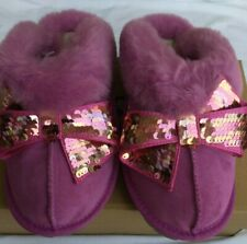 UGG Women's Coquette Sequin Bow Slipper Size 8 Scuff Slippers 1100251 BDC Pink