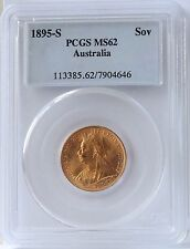 1895S Australia Sovereign MS62 PCGS.  Strong luster and attractive.