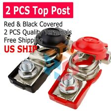 2 Car Battery Terminal Connector Top Post Positive Negative Heavy Duty Universal