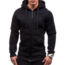 Mens Slim Fit Plain Hooded Sweatshirt Zipper Hoodies Sweater Jacket Coat Tops