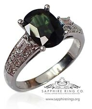 Certified 14 KT W/Gold 2.85 tcw Green Oval Cut Natural Sapphire & Diamond Ring