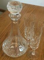 "Elegant Tall Heavy Ornate Cut Glass Decanter (10.5"") 2 Matching Flutes (7 1/4"")"