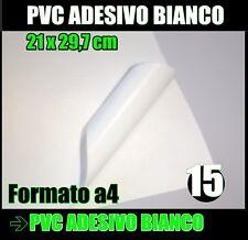 Carta ADESIVA A4 BIANCA  LUCIDO * stampa laser * 15 fogli * PVC VINILE