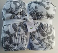 Pottery Barn Marcia Floral Reversible Comforter Twin Charcoal Gray #2977