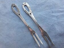 2 Ancienne Fourchette argent 800 allemand fait main Martelé Pickle Forks 20g