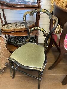 Beautiful Antique Handpainted Black Lacquer Chair, Bedroom Chair