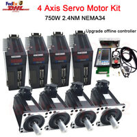 Offline 4Axis Motion Controller&4kit 750W AC Servo Motor Nema34 2.4NM 25W Supply