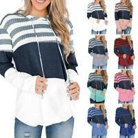 Womens Pullover Hoodies Sweatshirt Long Sleeve Top Jumper Sweater Outerwear Coat
