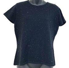 Vtg Talbots Womens Short Sleeve Shirt Black Merino Wool Embellished Blouse Top M