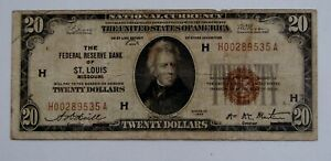 1929 - $20 Note Federal Reserve Bank of St. Louis - Well Circulated